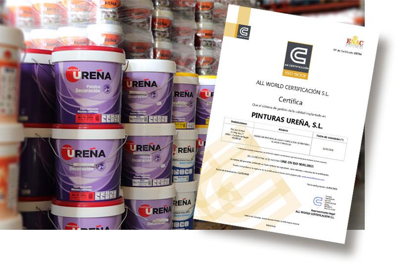 Pinturas Ureña certificado ISO 9001